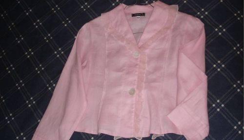 Veste rose habillée, en lin, Jean Bourget, fille 10ans