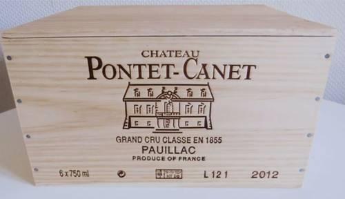 6bouteilles Pontet Canet 2012Caisse bois Pauillac 5è Grand Cru