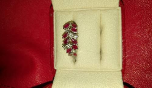 """Vends bague """"Lauriers"""" rubis & diamants, T54"""