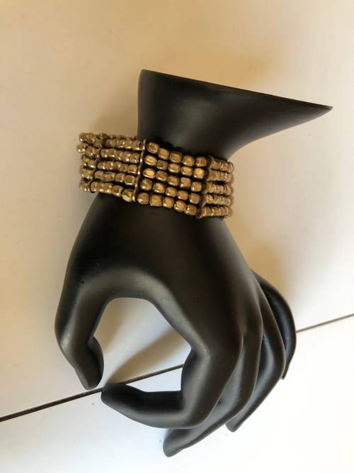 Bracelet manchette perles métal cuivré
