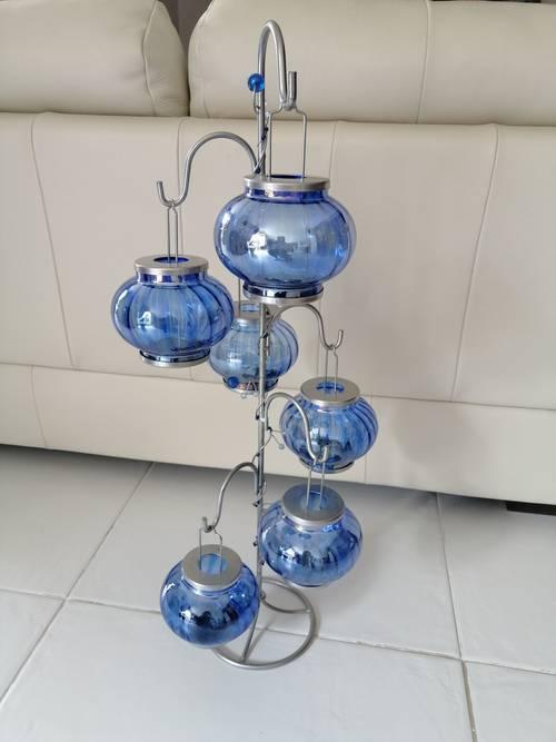 Photophore avec 6boules couleur bleue