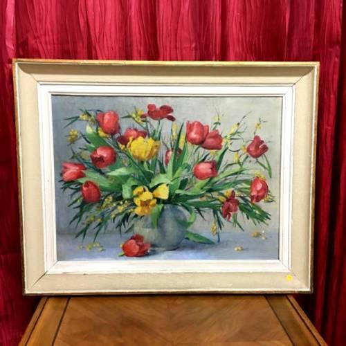 Huile sur toile: Bouquet de tulipes, école française