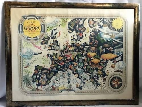 Rare ancienne carte Europe illustrée Pierre Hérault 1946éd. J. Petit