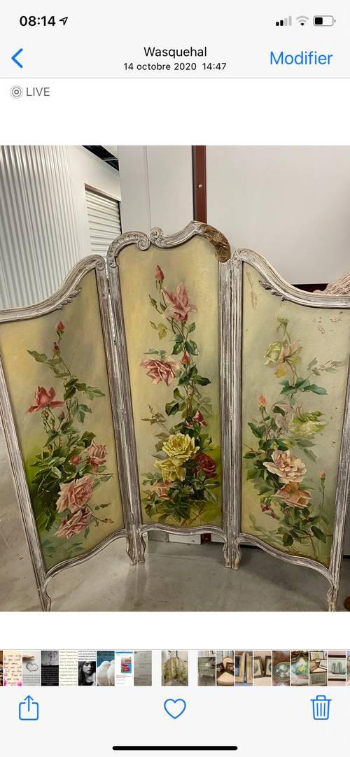 Paravent 3panneaux, motifs fleurs peintes sur toile