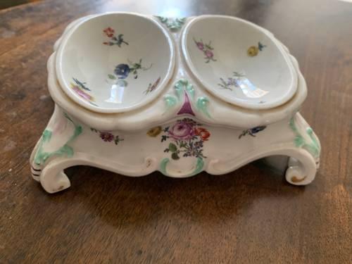 Saleron double en porcelaine