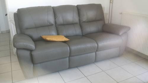 Vends canapé 3places cuir vachette, état neuf, gris souris