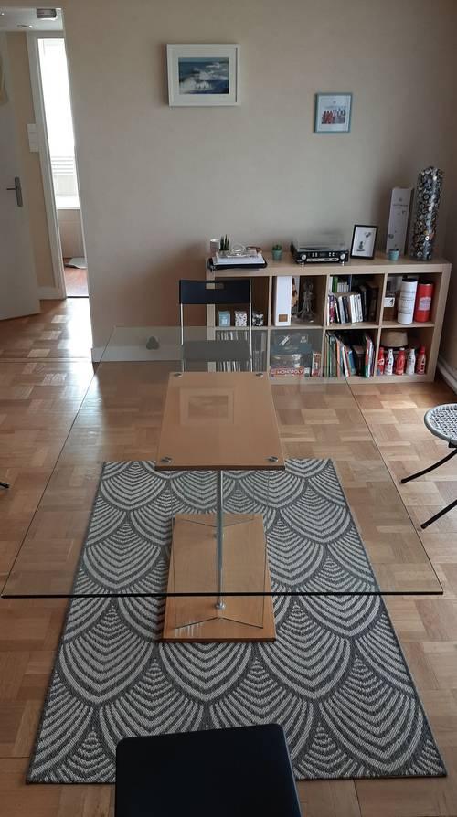 Vends table verre et bois