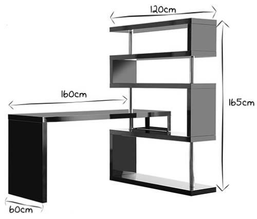 Bureau Design modulable noir laqué brillant T-Max