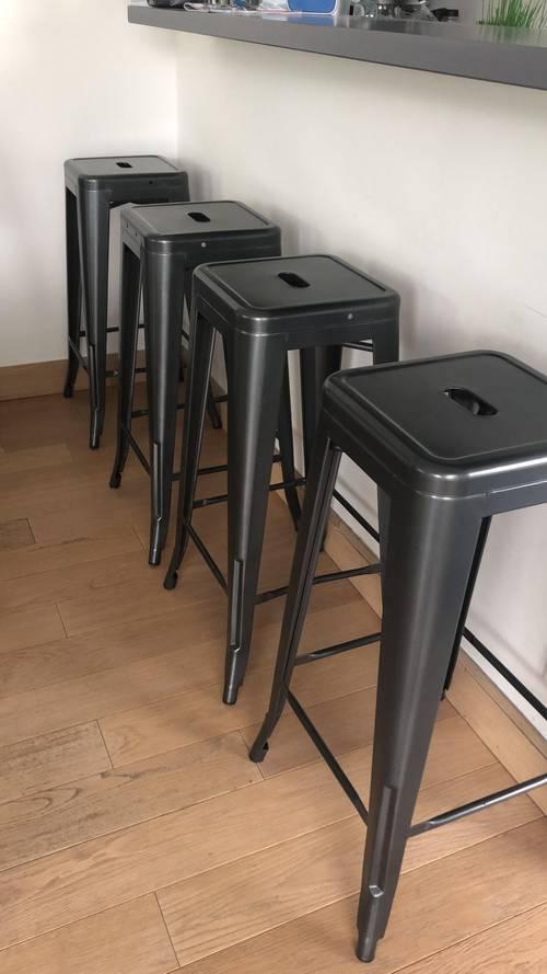 Vends 6tabourets/chaises de bar acier gris