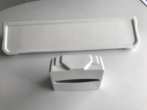 Tablette lavabo blanche rétro porcelaine blanche 60cmx15cm et dévidoir