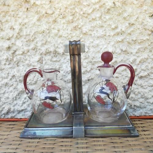 Huilier vinaigrier Art Déco Gallia, décor sanglier et biche