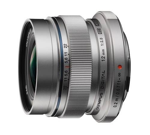 Olympus Objectif Zuiko Digital ED 12mm 2.0- Argent