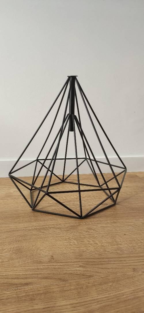 Suspension/Abat-jour Design Géométrique Métal Noir