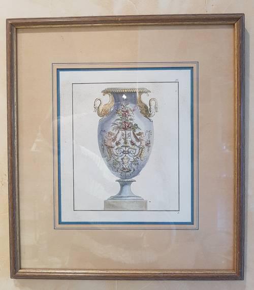 Gravure ancienne vase Médicis encadrée sous verre