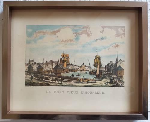 Vends gravure ancienne du port d'Honfleur