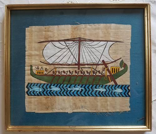 Papyrus peint à la main dans bel encadrement