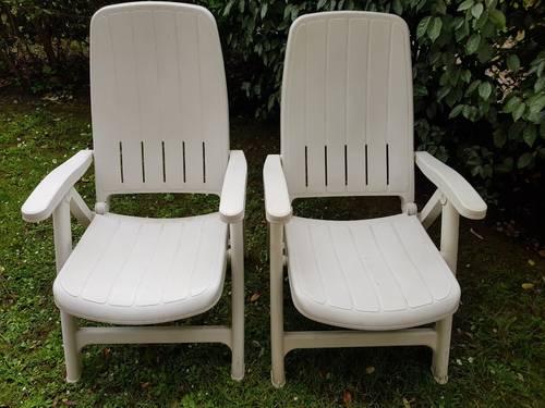Fauteuils jardin inclinables blanc