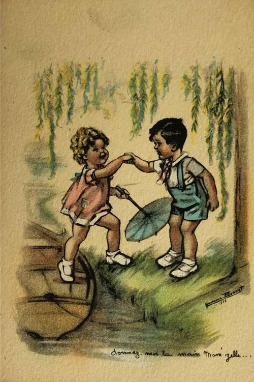 """Cpa Germaine Bouret """"Donnez moi la main, Mam'zelle"""""""