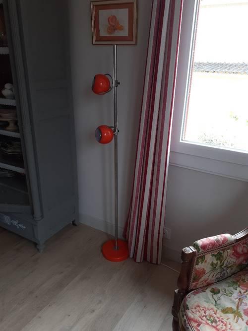 Lampadaire vintage orange années 6070