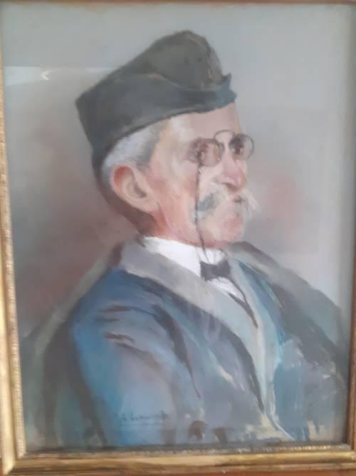Portrait d'un officier retraité , pastel sous verre