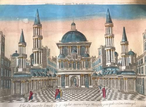 Ancienne gravure vue d'optique Chez Mondhare Ste Sophie XVIIIème