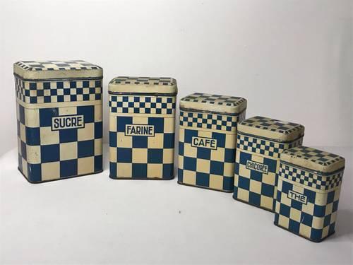 Art déco boites à épices en tôle damier bleu 1930