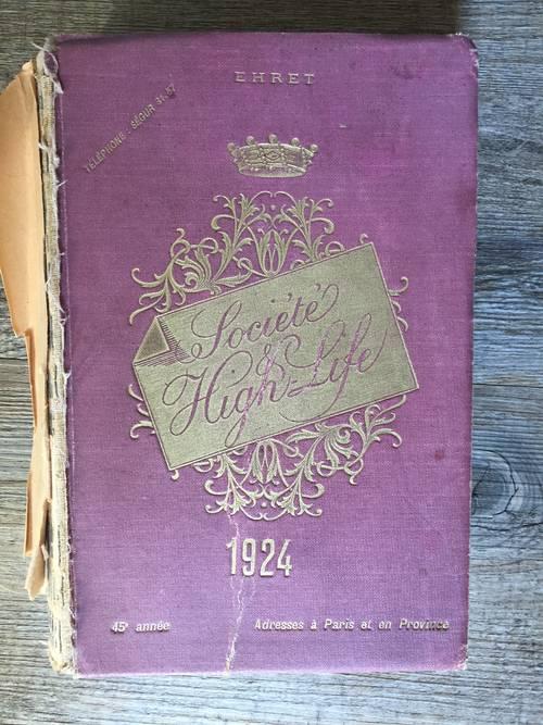 Vends annuaire 1924: «La société et le High- Life»