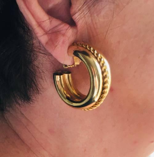 Boucles d'oreille créoles vintage dorées