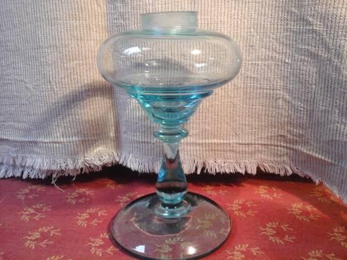 Pied de lampe en verre soufflé bleu XIXème