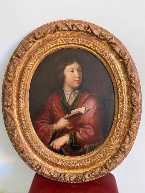 Portrait époque XVIIe Ecole Française dans son cadre bois sculpté doré