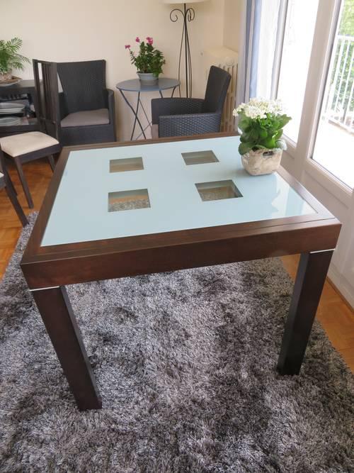 Table bois et verre extensible