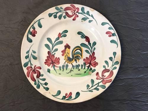 Ancienne assiette au coq et fleurs faïence Creil Montereau XIXème