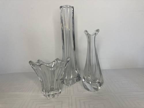 Verrerie vases soliflores cristal moulé DAUM signés années 1960