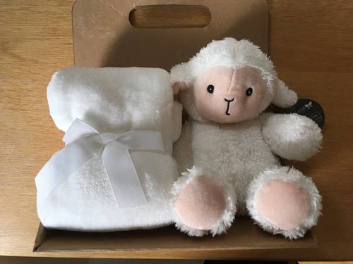 Peluche mouton avec plaid polaire, neuf