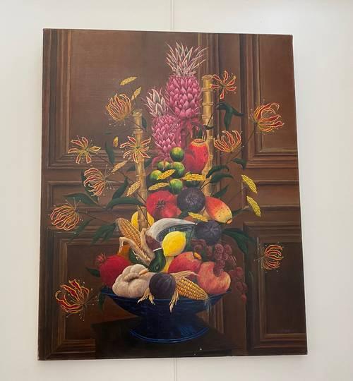 Vends une huile sur toile «coupe de fleurs et fruits»