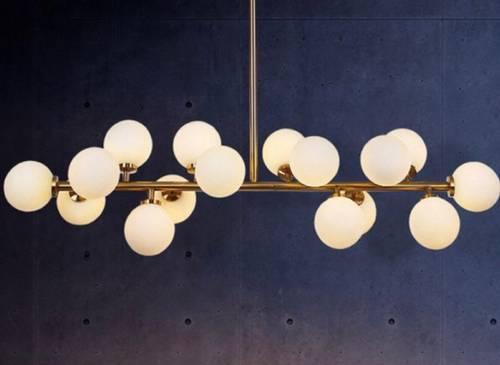 Plafonnier doré style rétro 16globes en verre