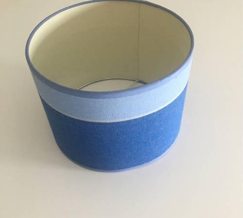 Abat-jour bleu rayures bayadère