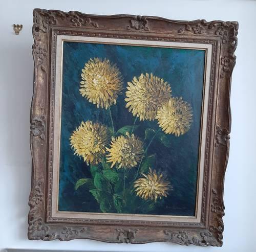 Vends tableau ancien chrysanthèmes jaunes