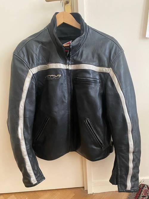 Vends blouson moto Hein Gericke cuir bleu marine foncé Taille L