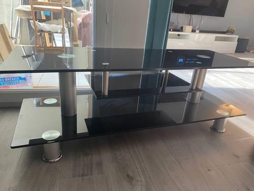 Vends meuble tv noir en verre