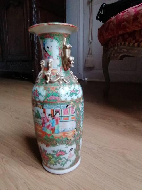 Vase balustre Chine XIXème Canton