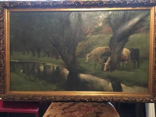 Tableau vaches en bord de rivière XIXe