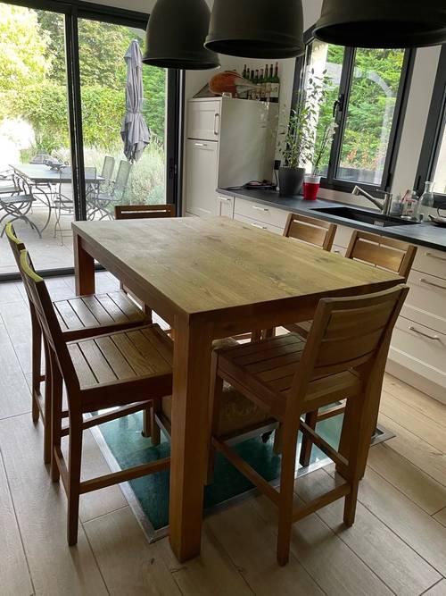 Table cuisine haute et 6chaises