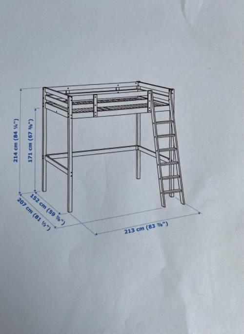 Lit double mezzanine Stora Ikea - 140x 200cm