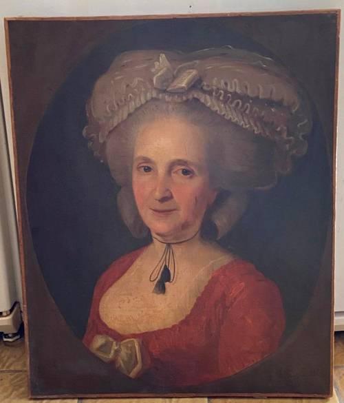 Portrait de femme de qualité signé époque Louis XVI XVIIIe