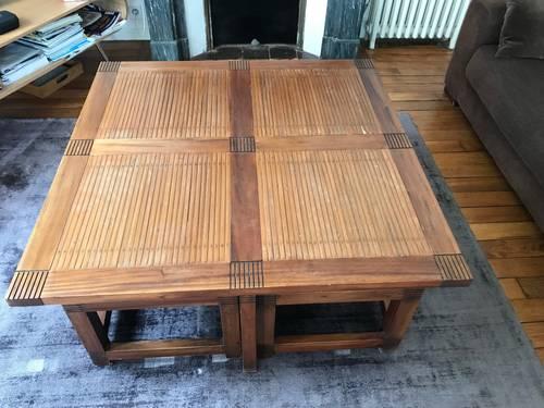 Vends table basse salon en bois + 4tabourets