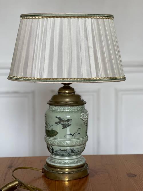 Lampe pied céramique chinoise et métal