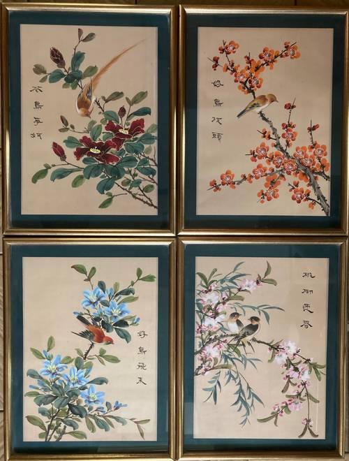 Anciennes peintures sur soie Chine oiseaux milieu XXème