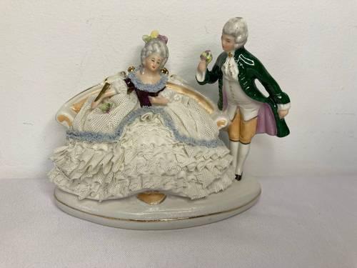 Ancienne porcelaine allemande couple de galants moitié XXème