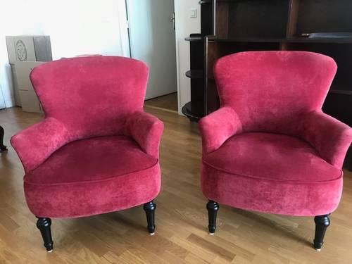 Vends 2petits fauteuils en velours rouge